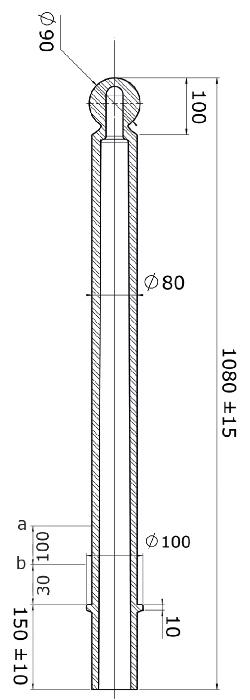 Flexibele kunststof afzetpaal model 80 Kogelkop